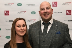 LtoR Jessica Marsh and Simon Marsh. Gloucestershire Sports Awards 2018 Cheltenham Racecourse, Evesham Rd, Cheltenham.
