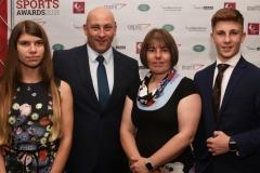 LtoR Becci Curwen, 17, Mat Curwen, Tammy Curwen and Sam Curwen, 14. Gloucestershire Sports Awards 2018 Cheltenham Racecourse, Evesham Rd, Cheltenham.