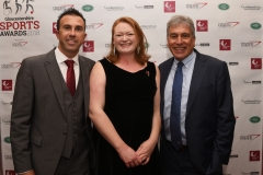 LtoR Andy Lewis MBE, Rachael Sugden and John Inverdale. Gloucestershire Sports Awards 2018 Cheltenham Racecourse, Evesham Rd, Cheltenham.