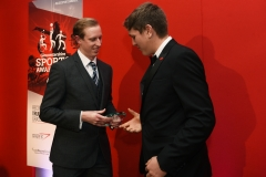 LtoR Head of Sport at GloucestershireLive Robert Iles presents the Young Sports Player of the Year award to Alex Oliver. Gloucestershire Sports Awards 2018 Cheltenham Racecourse, Evesham Rd, Cheltenham.