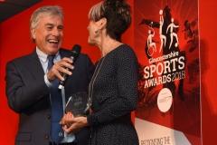 John Inverdale chats with Senior Sports Player of the Year award winner Jane Horder. Gloucestershire Sports Awards 2018 Cheltenham Racecourse, Evesham Rd, Cheltenham.