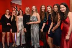 Caroline Rawlinson from Aspire presents the Junior Team of the Year award to Stroud High School U15 Handball team. Gloucestershire Sports Awards 2018 Cheltenham Racecourse, Evesham Rd, Cheltenham.