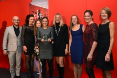 Gloucestershire Sales Director for Reach PLC Alesandro Galeo presents the Senior Sports Player of the Year award to Cheltenham & County Harriers Ladies Endurance Team. Gloucestershire Sports Awards 2018  Cheltenham Racecourse, Evesham Rd, Cheltenham.