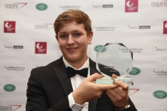 Young Sports Player of the Year Alex Oliver with his award. Gloucestershire Sports Awards 2018 Cheltenham Racecourse, Evesham Rd, Cheltenham.