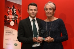 Tim Bell from Cheltenham Town Football Club presents the Senior Sports Player of the Year award to Jane Horder. Gloucestershire Sports Awards 2018 Cheltenham Racecourse, Evesham Rd, Cheltenham.