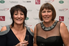 LtoR Jacquie Douglas and Jenny Hartell. Gloucestershire Sports Awards 2018 Cheltenham Racecourse, Evesham Rd, Cheltenham.