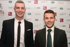 LtoR Aaron Downes and Tim Bell. Gloucestershire Sports Awards 2018 Cheltenham Racecourse, Evesham Rd, Cheltenham.